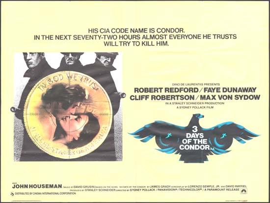 Three Days of the Condor [ 3 Days of the Condor ] UK Quad movie poster