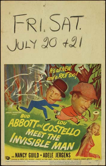Abbott and Costello Meet The Invisible Man US Window Card movie poster