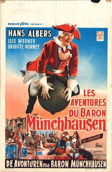 Munchhausen [The Adventures of Baron Munchausen] Belgian movie poster