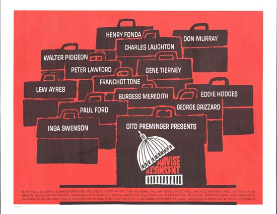 Advise and Consent US Half Sheet movie poster