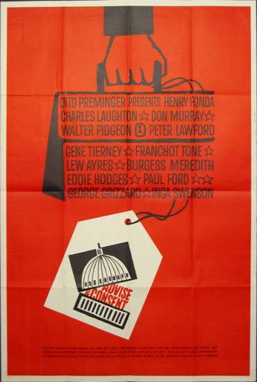 Advise and Consent US 40x60 movie poster