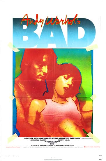 Bad, Andy Warhols US One Sheet movie poster