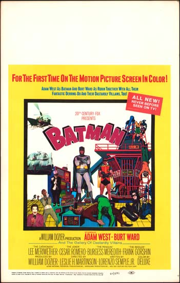 Batman The Movie US Window Card movie poster