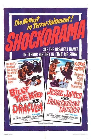 Billy the Kid vs Dracula / Jesse James Meets Frankensteins Daughter US One Sheet movie poster