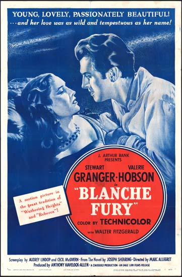 Blanche Fury US One Sheet movie poster
