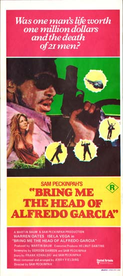 Bring Me the Head of Alfredo Garcia Australian Daybill movie poster
