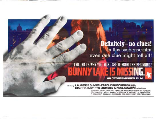 Bunny Lake is Missing UK Quad movie poster