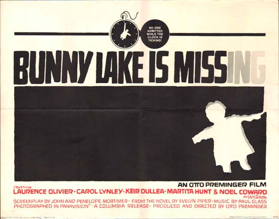 Bunny Lake is Missing US Half Sheet movie poster