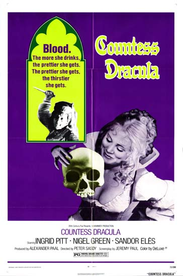 Countess Dracula US One Sheet movie poster