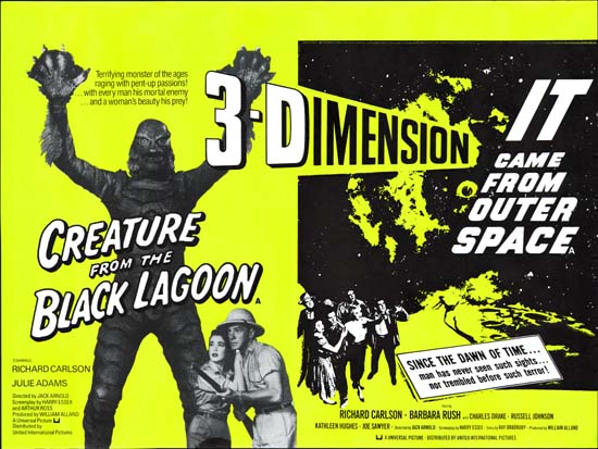 Creature from the Black Lagoon / It Came From Outer Space UK Quad movie poster