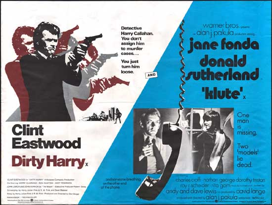 Dirty Harry / Klute UK Quad movie poster