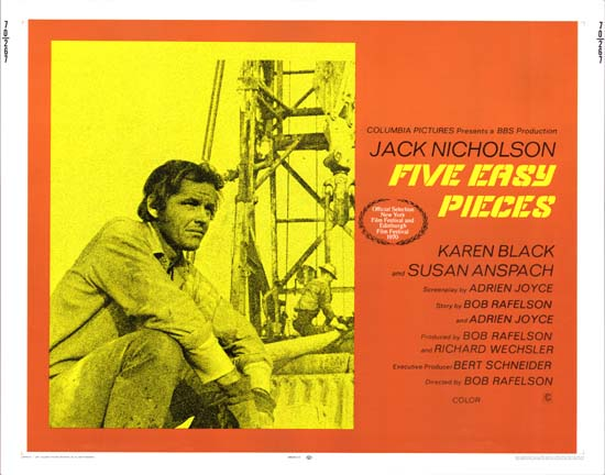 Five Easy Pieces US Half Sheet movie poster