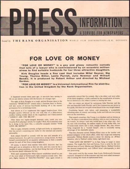 Image 3 of For Love or Money UK Pressbook