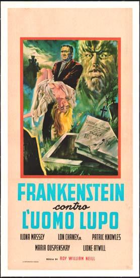 Frankenstein Meets the Wolf Man Italian Locandina movie poster
