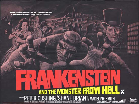 Frankenstein and the Monster from Hell UK Quad movie poster