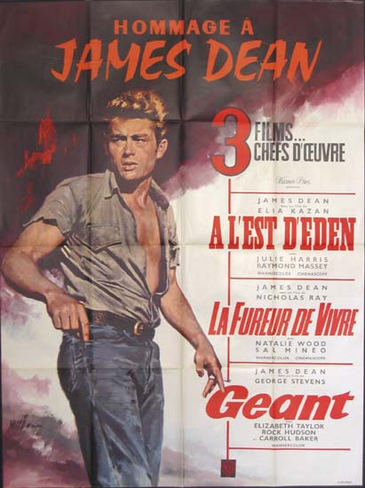 Hommage a James Dean: Rebel Without A Cause, East of Eden, Giant French Grande movie poster