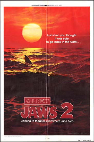 Jaws 2 US One Sheet teaser style B movie poster