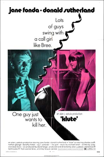 Klute US One Sheet movie poster