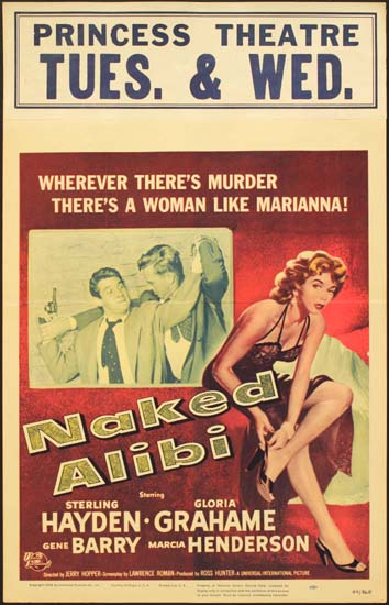 Naked Alibi US Window Card movie poster