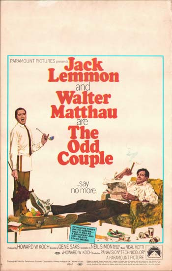 Odd Couple, The US Window Card movie poster