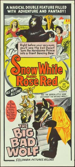 Snow White and Rose Red / The Big Bad Wolf Australian Daybill movie poster