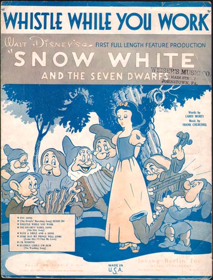Snow White and the Seven Dwarfs US Sheet Music
