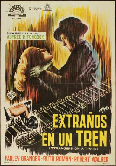 Strangers on a Train Spanish One Sheet movie poster