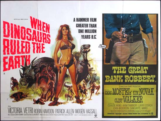 When Dinosaurs Ruled the Earth / The Great Bank Robbery UK Quad movie poster
